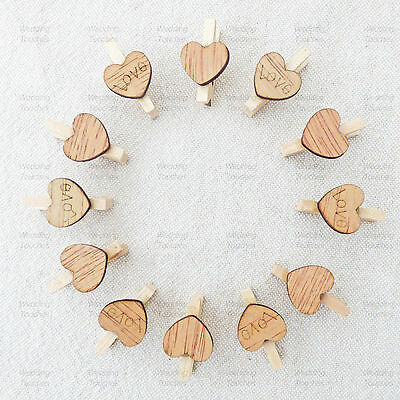 £2.99 • Buy 25mm Wooden Clothes Pegs With 15mm Rustic Hearts For Vintage Shabby Chic Wedding