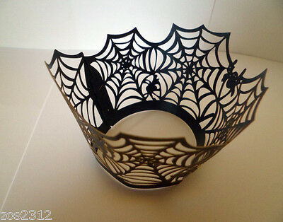 £3.25 • Buy Spider Web Cobweb Laser Cut Cupcake Wrappers Wraps Liners Halloween Party New