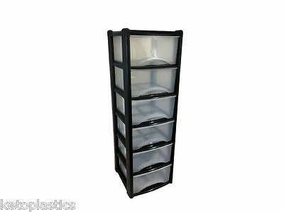 Back To School - Black 6 Drawer Unit A4 Size Deep Drawers, Books, Folders, Paper • 132.99£
