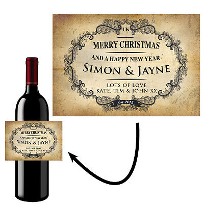 Personalised Wine Bottle Label Sticker Merry Christmas Vintage Shabby Chic- B30 • 2.95£