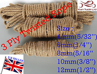 Natural 4mm 6mm 8mm 10mm 12mm Jute Rope Decking Garden Cord Boat Cord Craft DIY • 8.79£