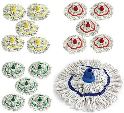 £12.99 • Buy Colour Coded Mop Head Hygienic Cleaning Looped Pure Yarn Cotton Mop Socket X 5