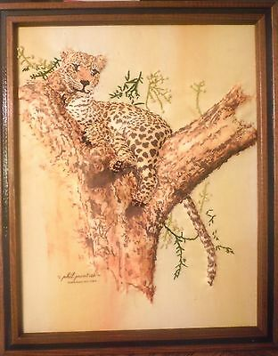 $ CDN18.93 • Buy Unique PHIL PRENTICE Leopard Needlepoint Dimensional Print 1976 Framed Signed