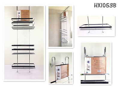 AU19.99 • Buy Chrome Over Door Shower Caddy 3 Tiers Storage Rack Bathroom Shelf Holder CRM073