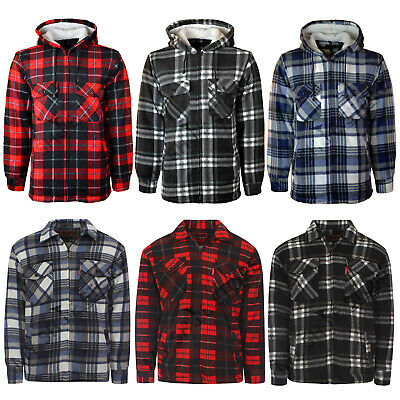 £15.99 • Buy Mens Padded Shirt Fur Lined Lumberjack Flannel Work Jacket Warm Thick Casual Top