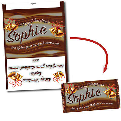 Personalised Chocolate Bar Wrapper Fits Galaxy 110g Bar Christmas Gift Present • 1.65£