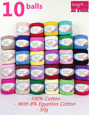 AU34.99 • Buy 10x 100% Super Soft Crochet Cotton Ball 50g 3Ply Wool Yarn 38 Colour Available
