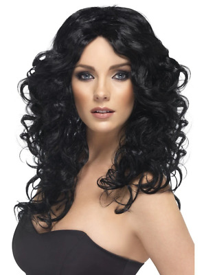 AU27.95 • Buy Glamour 1990's Long And Curly Wig Fancy Dress Costume Accessory- Black