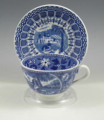 $35 • Buy Antique Lambert Maastricht Flow Blue Chocolate Cup And Saucer, Couple