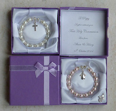 Holy Communion Gift, Present. Personalised Bracelet. First Christian Communion. • 7.99£
