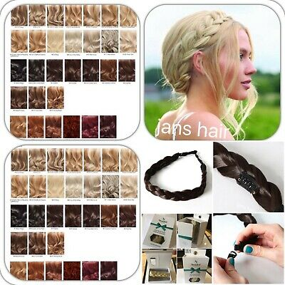 £6.47 • Buy Stranded Hair Plait 1  Thick Chunky Braided Hairpiece Clipped Headband Hairband