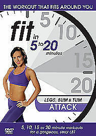 Fit In 5 To 20 Minutes: Legs Bum And Tum Attack New Region 2 Dvd • 4.75£