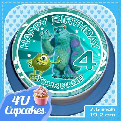 Precut Personalised Monsters Inc 7.5 Inch Round Edible Cake Topper G • 4.09£