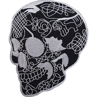 Black Skull Patch Embroidered Iron Sew On Motorcycle Jacket Bag Rockabilly Badge • 2.79£