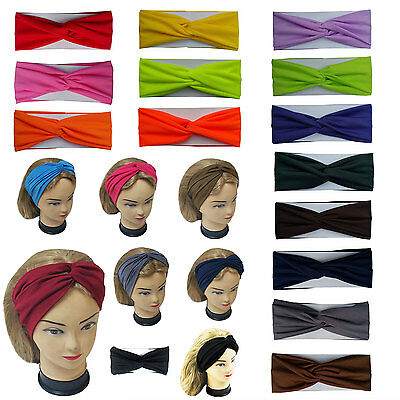 $4.99 • Buy Twisted Hair Wrap Yoga Headband Stretchable Turban Hairband Fashion Solid Color