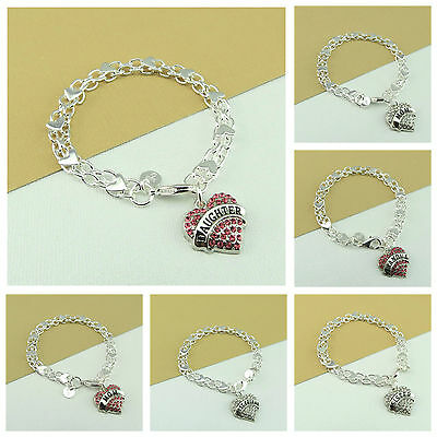 925 Silver Plated HEART Braclet With Personalised GRANDMA DAUGHTER SISTER CHARM • 5.99£