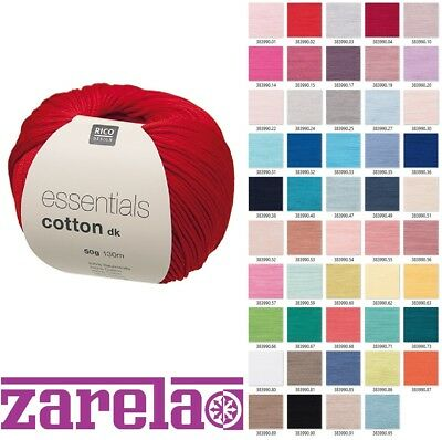 £3.15 • Buy RICO DESIGN ESSENTIALS COTTON DK DOUBLE KNITTING YARN - 50g - ***ALL COLOURS***