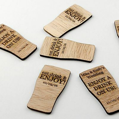 £19.99 • Buy Wooden Drink Tokens. Personalised Pint Glass. Free Rustic Wedding Guest Favours