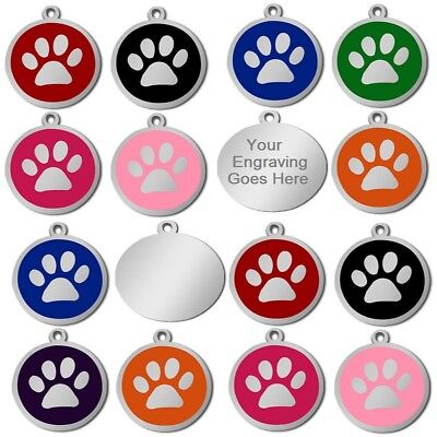 Personalised Engraved Round S/Steel Paw Name Identity Dog Cat Pet Tags Disc Disk • 3.29£