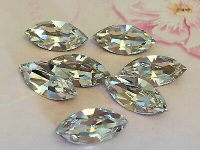 Preciosa Navette Rhinestone Crystal 15x7mm Gold Foiled Pack 6 CRAFT Post Free  • 7.15£