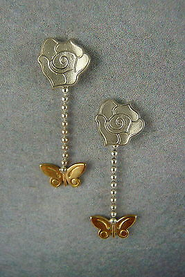 Ola Gorie Silver & 9ct Yellow Gold Flowerland Earrings Rose Butterfly Scottish • 124£
