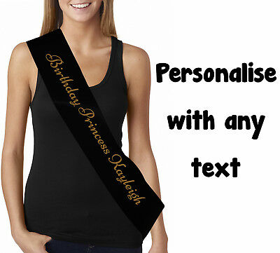 Personalised Black Gold Birthday Sash Custom Printed With Any Text Age Name  • 2.99£
