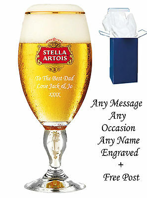 £13.95 • Buy Personalised Engraved Branded Pint Stella Artois Chalice Glass Birthday Gifts