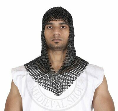 Chainmail Coif Hood Black Butted Medieval Armor Knight Steel Hauberk Chain Mail • 34£