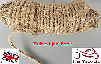 Natural 10mm 3/8  Jute Rope Camping Garden Sash Cord Boat Cord Craft Boat DIY • 4.39£