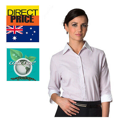 AU22.95 • Buy Women Shirt Blouse Tops White Collar Cuffs Office Casual Formal Business Pink