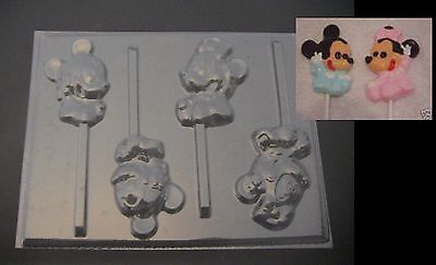 $4 • Buy BABY MINNIE & MICKEY Mouse Lollipop Chocolate Soap Candy Mold