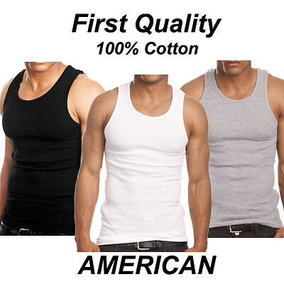 $18.95 • Buy Lot 3-6 Mens 100% Cotton Tank Top A-Shirt Wife Beater Undershirt Ribbed Muscle