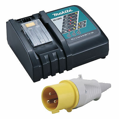 Makita 18v Lxt 110v Site Yellow Plugged Charger • 47.99£