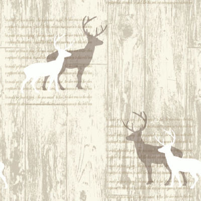 Arthouse VIP Woodland Stag Deer Tree Beige Natural Cream Typography Wallpaper • 8.99£