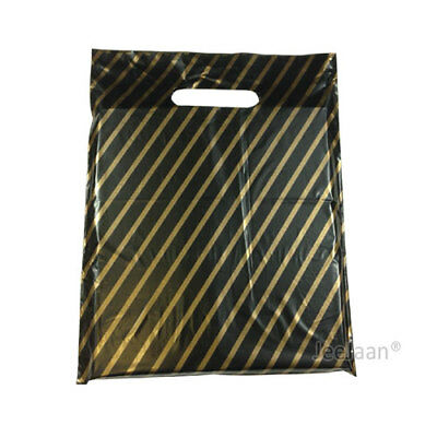 £5.99 • Buy Strong Black And Gold Striped Plastic Carrier Bags Jewellery Fashion Gift Shop