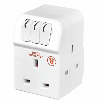 £7.99 • Buy Masterplug MSWRG3-MP 13 A 3-Socket Indoor Power Surge Protected Adapter - White
