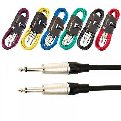 AU10.75 • Buy Guitar Lead 6.35mm Mono Jack To Jack / Instrument Cable / Patch Lead / 6 Colours
