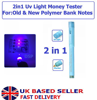 £10.99 • Buy 2in1 UV Light Counterfeit Fake Forged Bank Note Money Tester Detector Marker Pen