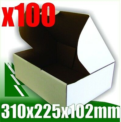 AU55.99 • Buy 100 X Bx2 White Cardboard Boxes Box 310 X 225 X 102 Mm