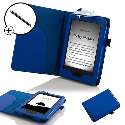 Leather Blue Smart Case Cover With Light Amazon Kindle (7th Gen 2014) + Stylus • 5.25£