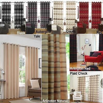Striped Eyelet Curtains Modern Ring Top Ready Made Fully Lined Curtain REDUCED • 55.95£