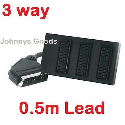 3way Scart Splitter Switch Box With 0.5m Lead Cable Plug Sockets Adapter • 4.99£