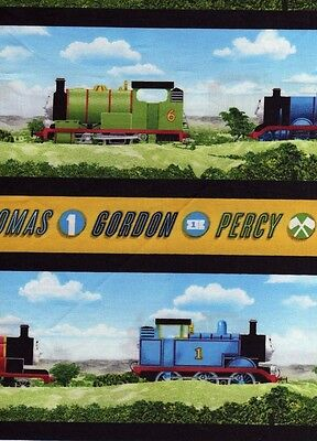 Half Meter Thomas The Tank Engine All Aboard Stripe 100% Cotton Quilting Fabric • 8.95£