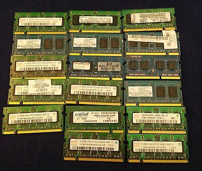 $ CDN46.01 • Buy Lot Of 17 Laptop RAM Memory 1Gb And 512Mg Used Removed From Old Laptops.(C16B1).