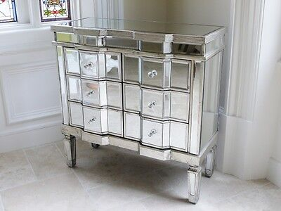£269.99 • Buy Stunning Bow Front 6 Draw Venetian Glass Mirrored Bedroom Chest Of Drawers 3695