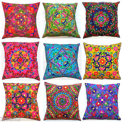 £11.89 • Buy Large Cushion Cover 24x24  60cm Indian MultiColour Embroidery Tapestry Floor Zip