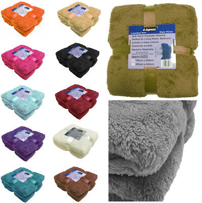 £8.49 • Buy Teddy Throw Blanket Fleece Large Soft Warm Cuddly Sofa Double King Bed Cover