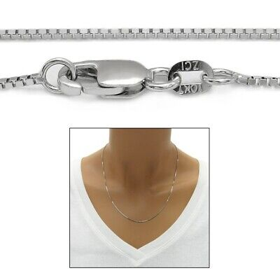 $132.98 • Buy Guaranteed 10K White Gold Box Chain Necklace 1mm W/ Lobster Lock