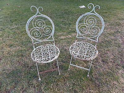 $175.99 • Buy Pair Unusual Metal Folding Ornate Garden Chairs Chair Outdoor Patio Vintage