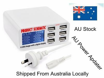 AU29.59 • Buy 6 Port 6A Auto Detect USB Rapid Fast Travel Wall Charger Station HUB LCD Display